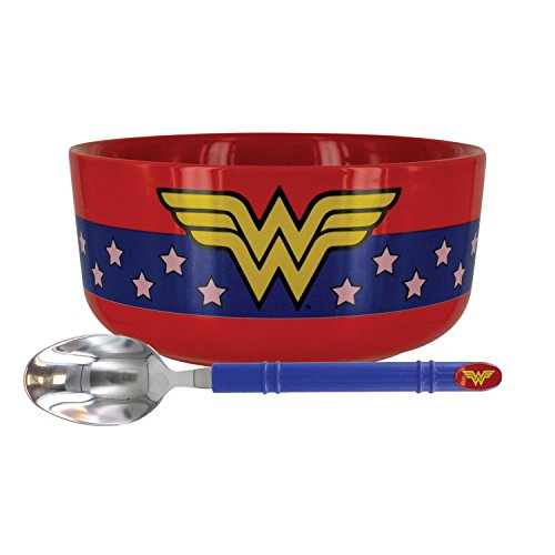 Paladone DC Comics Officially Licensed Merchandise - Wonder Woman Breakfast Set - Bowl and Spoon Set