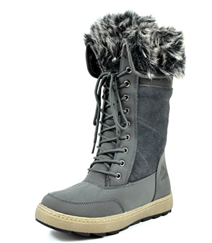 Cuff Snow (ARCTIV8 MUSK Women's Winter Cold Weather Mid High Faux Fur Snow Boots Grey Size)