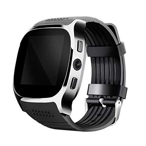 (helegeSONG Sleep Monitoring Waterproof Sports Exercise Bluetooth Camera Pedometer Wristband Smart Watch for Men Women Birthday Gift - Black)