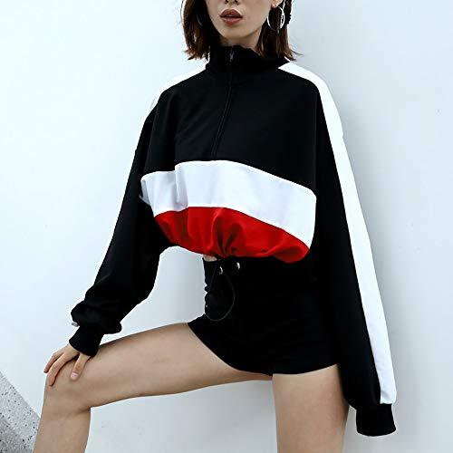 Patchwork Black Zipper Crop Blouse Long sleeve Shirt Pullover Morwind Sweatshirt Women Tops xqzYCPUUw