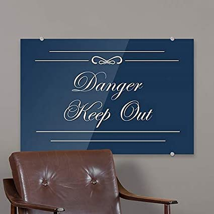 CGSignLab Danger Keep Out Classic Navy Premium Brushed Aluminum Sign 5-Pack 27x18