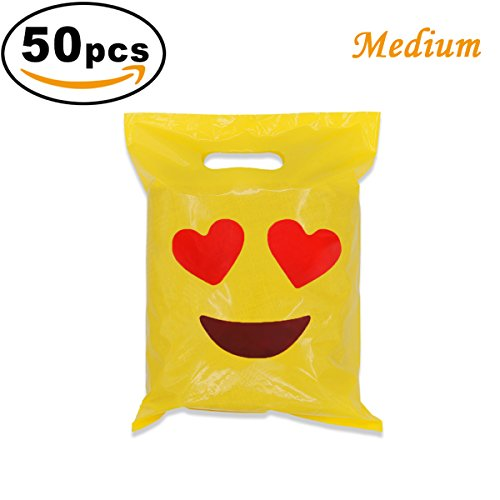 Happy Birthday Cut Outs (Cevinee 50PC Super Cute Party Favor Bags, Small Glossy Merchandise Bags, Handy Retail Shopping Bags - Emoji in Love - No Gusset - Die Cut Handle - 6