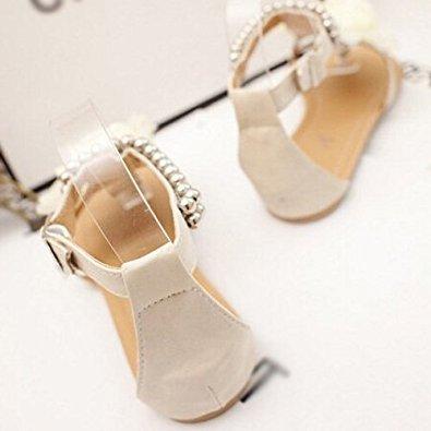 Perlas para con Planas Beige Gladiador Tamano Chanclas Mujer TOOGOO Bohemias de Zapatos 4 Flor R Planas Beige Verano Sandalias Sandalias de Mujer de qFnfzxX