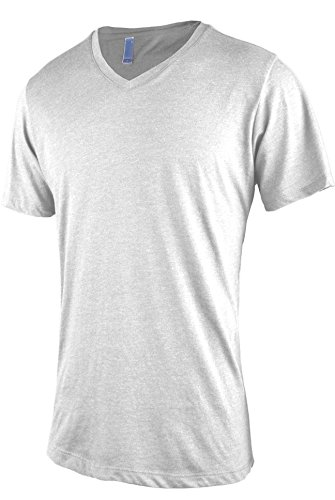 Shirt Blend Ash (TL Men Casual Basic Short Sleeve Tri-Blend/100% Cotton V-Neck T Shirt NEW36_Ash S)