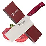 Sedge Vegetable Meat Cleaver Knife 7'', Chinese Chef Knife, High Carbon German X50CrMoV15 Stainless Steel With Pakkawood Ergonomic Handle With Case - ST Series