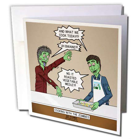 (3dRose Rich Diesslins Funny Out to Lunch Cartoons - Cooking with The Zombies - Brains or a Roasted Vegetable Medley - 12 Greeting Cards with envelopes (gc_306028_2))
