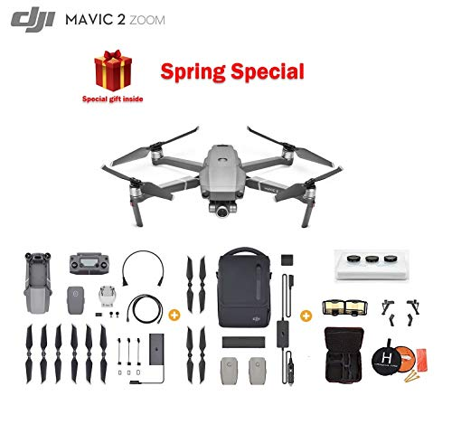 Mavic 2 Zoom Drone Quadcopter with Fly More Kit, Photographer Bundle, with Filter Set, Landing Pad and Landing Gear