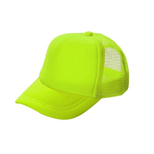Opromo Blank Neon Foam Poly Mesh Trucker Hat Cap, Adjustable Snapback Hi Vis Cap-Neon Yellow-Adult