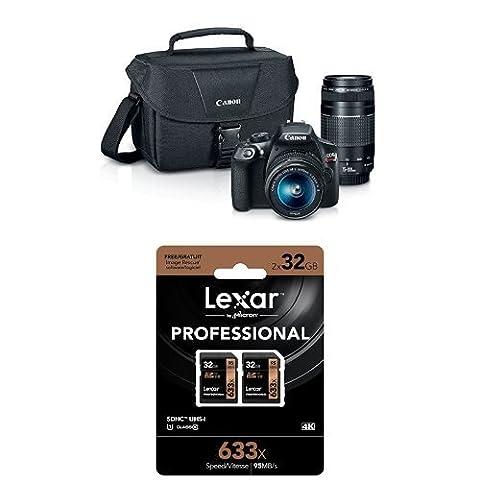 Canon EOS Rebel T6 Digital SLR Camera Kit with EF-S 18-55mm and EF 75-300mm Zoom Lenses + Two Lexar 32GB Memory - Canon Digital Rebel Kit