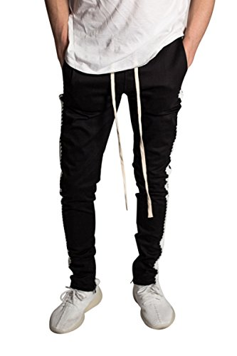 ca7be9d7028 KNDK Men s Tapered Skinny Fit Stretch Drawstring Ankle Zip Striped Track  Pants (M