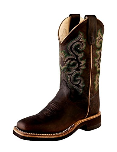 Old West Kids Boots Unisex Square Toe Crepe Sole Brown Oil Apache (Toddler/Little Kid) Brown Boot 13.5 Little Kid M (Childrens Crepe Sole Shoes)