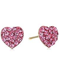 14k Yellow Gold Rose Crystal Stud Earrings