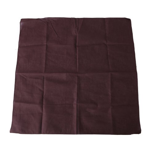 HDE 100% Cotton Solid Color Bandana Handkerchief Head Wrap - Chocolate (Brown Bandana)