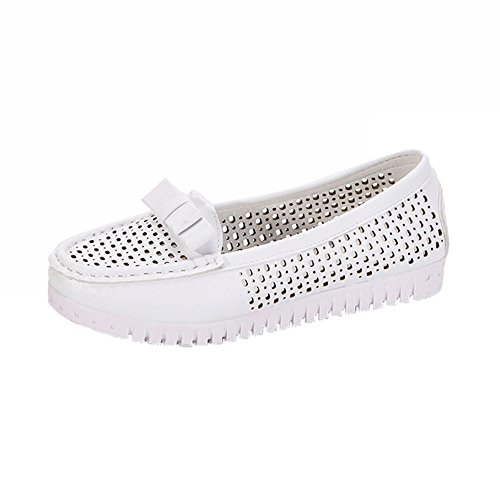 Flat Sandals for Women WuyiMC Butterfly-knot Low Heels Flat Loafers Shoes (White 6)