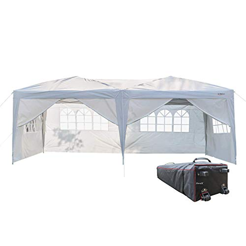 VINGLI 10x20 Ez Pop Up Canopy Tent with 6 Removable Sidewalls Panels,Folding Instant Wedding Party Outdoor Commercial Event Gazebo Pavilion W/ Portable Rolling Carrying Bag,White