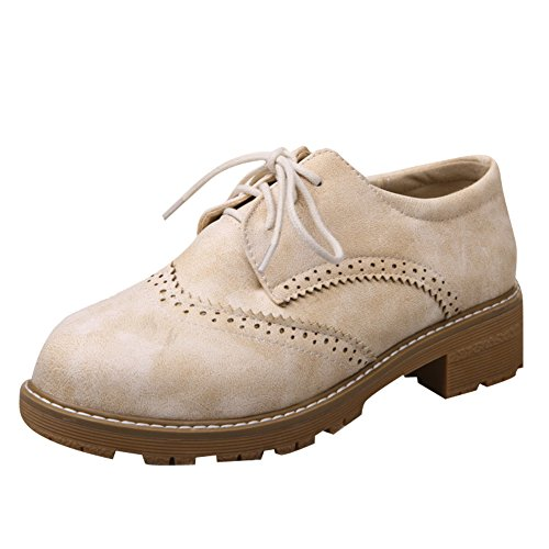 Latasa Womens Casual Lace up Low Heel Oxford Shoes Beige zpZdrNLp