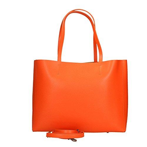 Chicca Borse Damen Handtasche aus echtem Leder made in Italy - 38x30x12 cm Orange C7GbxRvWj