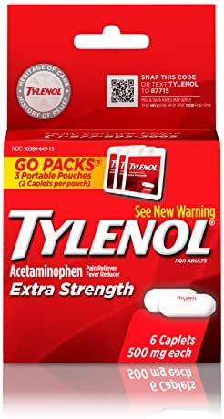 Tylenol Extra Strength Caplets with 500 mg Acetaminophen, Pain Reliever & Fever Reducer, 6 ct