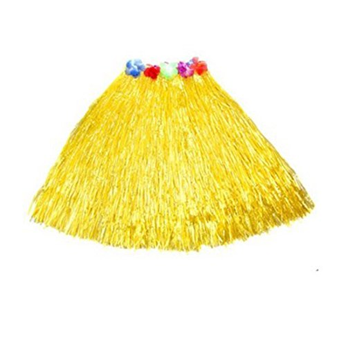 [Kid's Plastic Luau Hula Skirts Floral Waistbands Party Skirts Artificial Grass (Yellow)] (Tahitian Dancers Costumes)