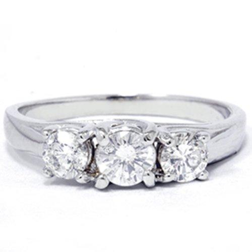 (1ct Three Stone Diamond Ring 14K White Gold - Size 7)