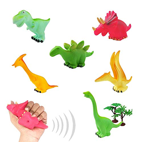 - Liberty Imports 6 Pack Squeeze and Chew Soft Vinly Rubber Squeaky Dinosaur Figures for Toddlers