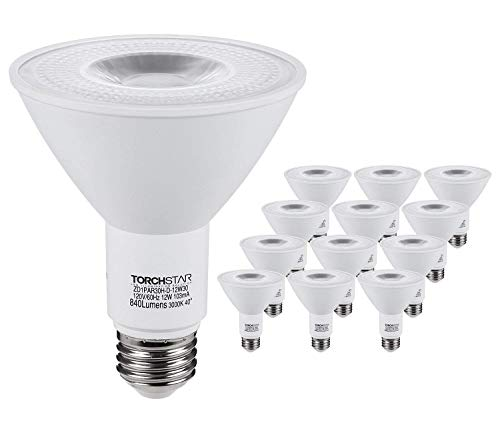 TORCHSTAR PAR30 LED Spot Light Bulb Long Neck, 12W 75W Equiv, Wet Location Dimmable, High CRI90+, 3000K Warm White, 840Lm, E26 Medium Screw Base, Energy Star & UL Listed, 3 Years Warranty, Pack of 12