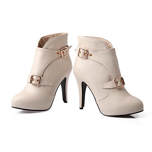 Heels Pull Beige Pointed Women's AgooLar Boots High On PU Solid Toe 0vqZx45w