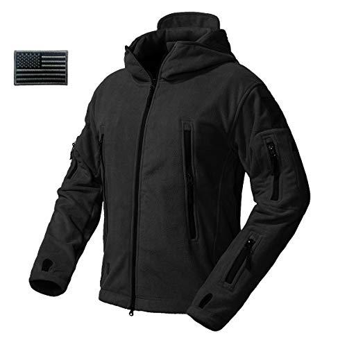 CARWORNIC Men's Military Tactical Fleece Jacket Warm Many Pockets Outdoor Hooded ()