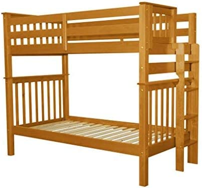 Bedz King Tall Bunk Beds Twin over Twin Mission Style with End Ladder Honey