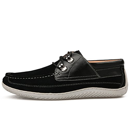 Minishion Ragazzi Mens Moc-toe Stringate In Pelle Scamosciata Casual Scarpe Moda Sneakers Nere