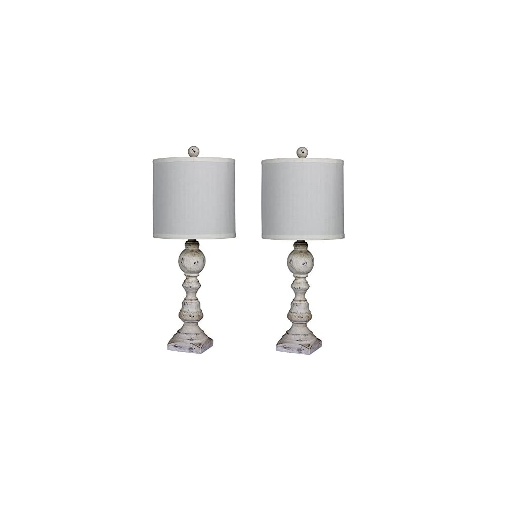 Cory Martin W-6241CAW-2PK Fangio Lighting's #6241CAW-2PK Pair of 26 in. Distressed Balustrade Resin Table Lamps in a…