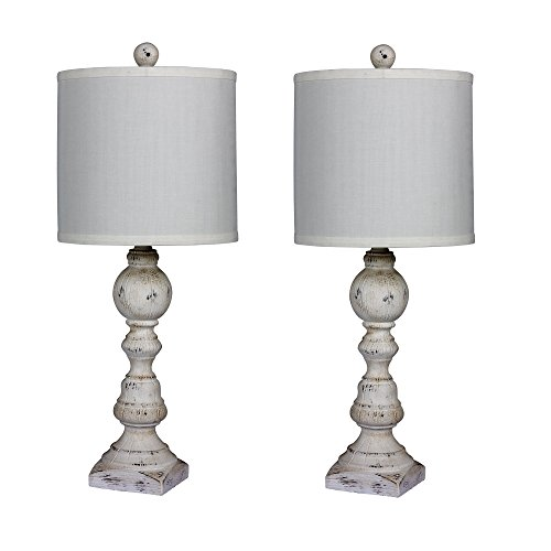 Cory Martin W-6241CAW-2PK Fangio Lighting's #6241CAW-2PK Pair of 26 in. Distressed Balustrade Resin Table Lamps in a Cottage Antique White Finish, 2 Piece (White Antique Lamps)