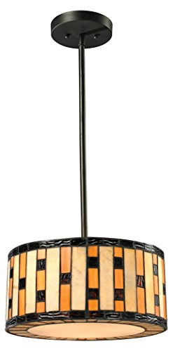 - Z-Lite Z14-51P-C 3-Light Pendant with Multi Colored Tiffany Shade