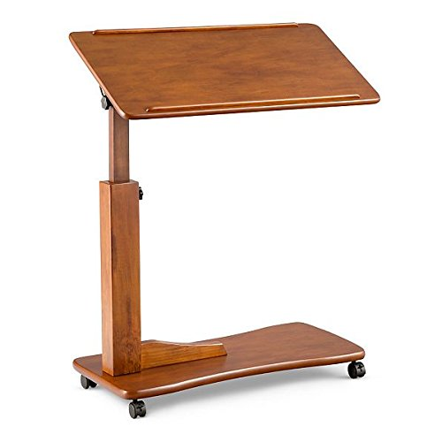 Adjustable Rolling Portable Bedside Table Overbed Table Reading Tray Table 4 Colors (Chestnut)
