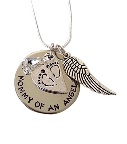 Blingsoul Mommy of an Angel Necklace - Personalize Memorable Jewelry Foot Pendant Necklace for Women
