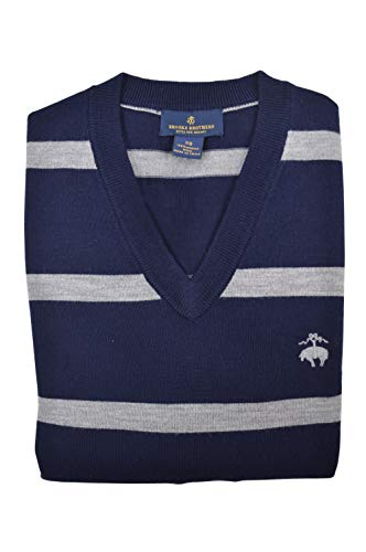 (Brooks Brothers Men's Merino Wool V-Neck Sweater Navy Blue Striped (X-Small))