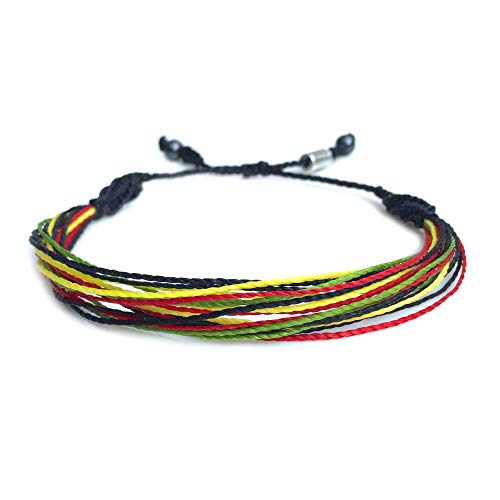 (RUMI SUMAQ Rasta String Bracelet: Handmade Adjustable Wax Cord Surf Jewelry)