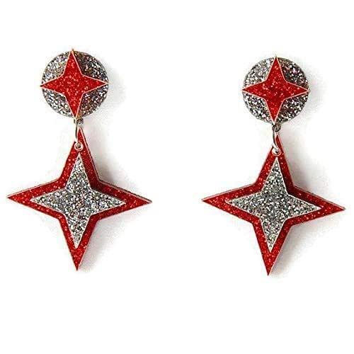 Retro Red Acrylic /& Black Lace Fan Shaped Pierced Earrings