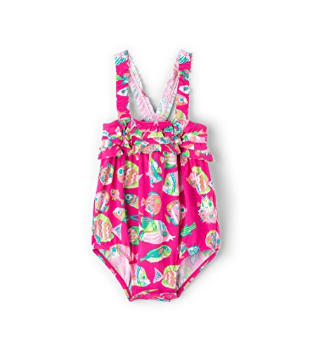Hatley Baby Girls Mini Ruffle Swimsuits, Fancy Fish, 6-9 Months -