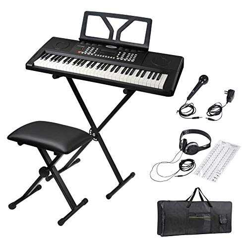 ADM 61 Key Portable Electronic Keyboard Piano Beginner Kit with Stand, Padded Bench Stool, Microphone, Headphone, Keyboard Bag and Keyboard Sticker