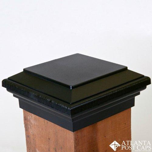 6x6 Post Cap - (Nominal) Black Flat Top - 10 Year (6x6 Plastic Post Cap)