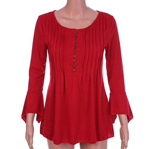 Haut Vetement Top Chic Casual Grande Taille Femme Vetement Chemise Rouge Femme Soiree Shirt Sport Blouse Pas Ete T Femme Cher Fille S~5XL Mode Printemps Femme Elegant Fashion DAY8 Femme vqaSwvA