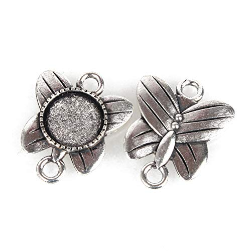 Pandahall 10pcs Vintage Tibetan Style Antique Silver Blank Bezel Cabochon Settings 12mm Inner Diameter Flat Round Frame Butterfly Pendant Tray Chandelier Link Connector Charms