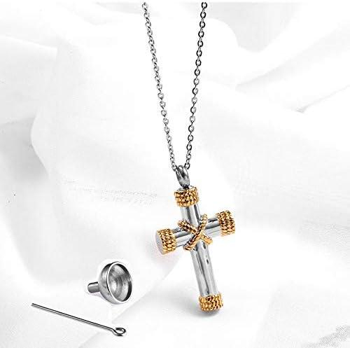 Halskette Ohrringe Schmuck Set Kette Poul Urn Box Anhänger Männer und Frauen Zubehör Titan Stahl kann geöffnet werden, um eine kleine Note Parfüm Flasche Seil Kreuz Halskette zu setzen ( Color : C )