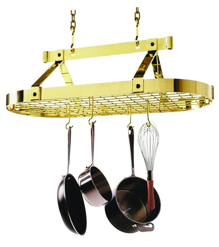 Enclume PR16bwgBP 3-Foot Oval with Grid Premier Ceiling Rack, Brass