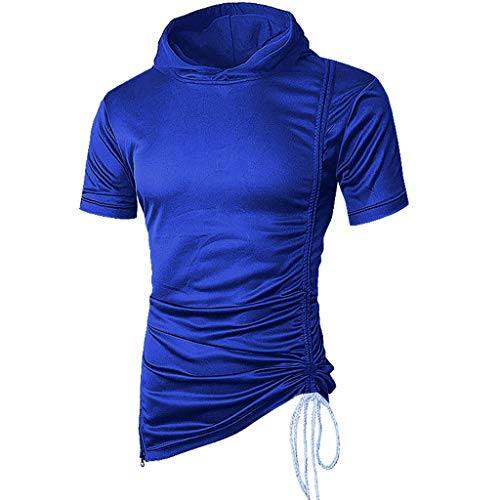 VEZAD Men Summer Solid Color Hooded T Shirt Short SleeveTop Fashion Casual Blouse Blue ()