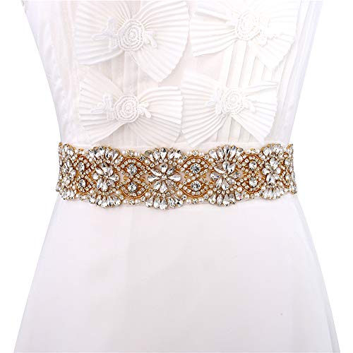 XINFANGXIU Wedding Bridal Sash Crystal Belt Rhinestone Applique Pearls Beaded Sewn Iron on for Formal Gown Dress -