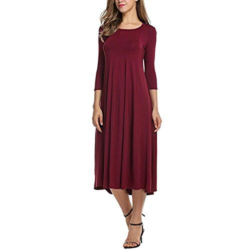 Longue Pull Femme Shirt Robe Confort T Over Shirt Tunique Voyage LAEMILIA Printemps Manches Casual Automne Sweat Bordeaux Mode EqtOwBn