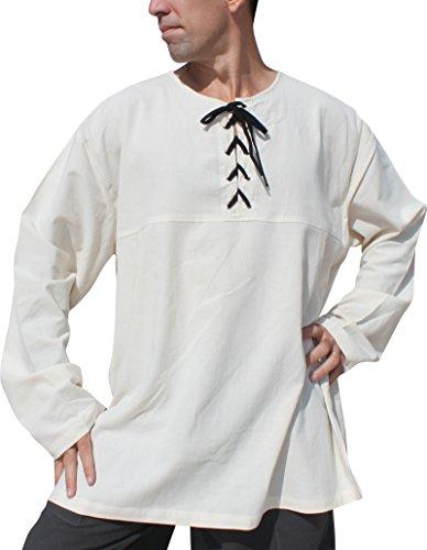 Raan Pah Muang Navigator Medieval Renaissance Festival Swashbuckler Costume Shirt, Large, Cream with Black Ties