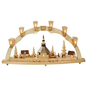 German candle arch Village of Seiffen, length 80 cm / 32 inch, natural, electrically illuminated, with music box, original Erzgebirge by Richard Glaesser Seiffen